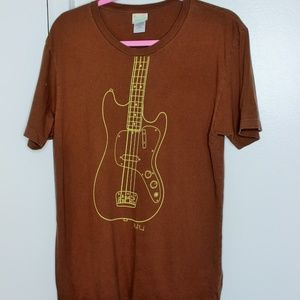 Paul Frank Brown Yellow Guitar Graphic Tshirt L
